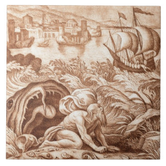 Jonah and the Whale, illustration from a Bible, en Tile