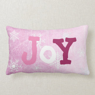 Joy and Peace Snowflakes Christmas Pink Pillow