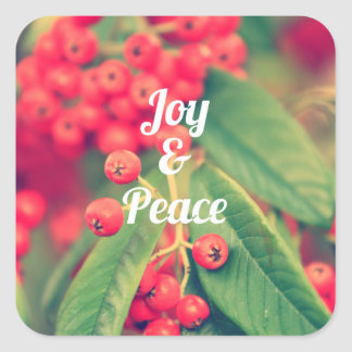 Joy and peace square stickers