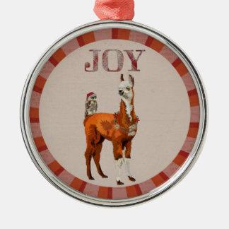 JOY LLAMA & OWL CHRISTMAS ORNAMENT