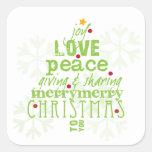 Joy, Love, Peace Christmas Envelope & Gift Sticker
