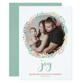 Joy - Minty Fresh Watercolor Wreath Holiday Photo Card