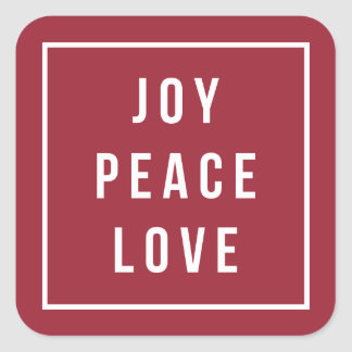 Joy Peace Love | Modern Red & White Holiday Square Sticker