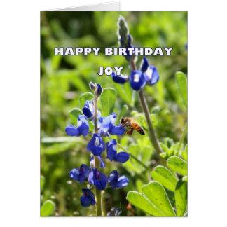 Joy Texas Bluebonnet Happy Birthday Greeting Card