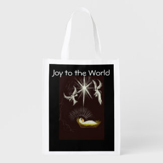 Joy to the World Christmas Gift Reusable Grocery Bag