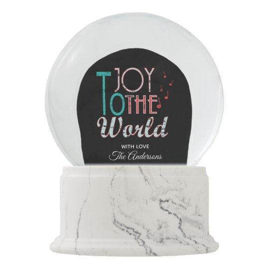 Joy to The World Christmas Typography Music Notes Snow Globe