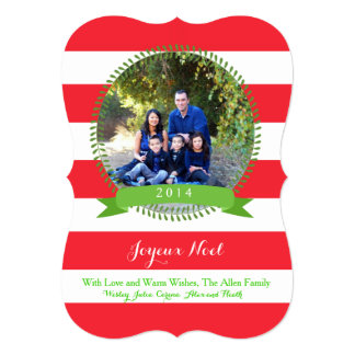joyeux noel Christmas Photo Card Bold Red Stripes