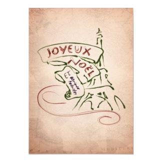 "Joyeux Noël Eiffel Tower Christmas Card 5"" X 7"" Invitation Card"