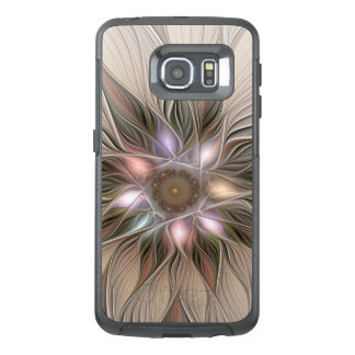 Joyful Flower Abstract Beige Brown Floral Fractal OtterBox Samsung Galaxy S6 Edge Case