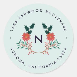 Joyful Foliage   Holiday Monogram Return Address Classic Round Sticker