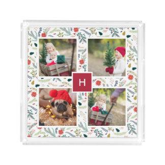 Joyful Foliage   Holiday Photo Collage Acrylic Tray