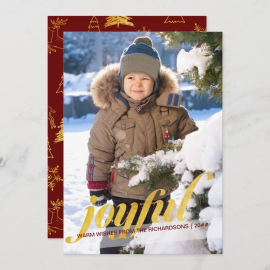 Joyful Full Bleed Photo Red and Gold Holiday Card