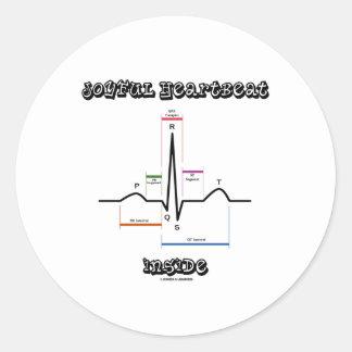 Joyful Heartbeat Inside ECG EKG Electrocardiogram Round Sticker