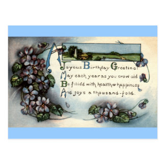 Joyous Birthday Greeting Repro Vintage 1918 Postcard