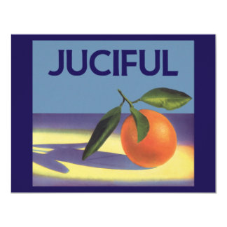 Juciful Oranges, Vintage Fruit Crate Label Art Personalized Invites