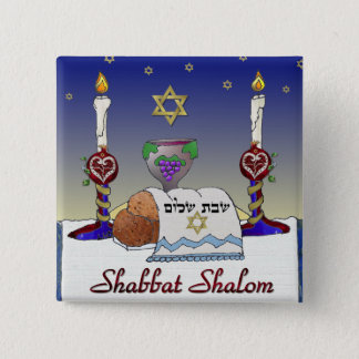 Judaica Shabbat Shalom Art Print 15 Cm Square Badge