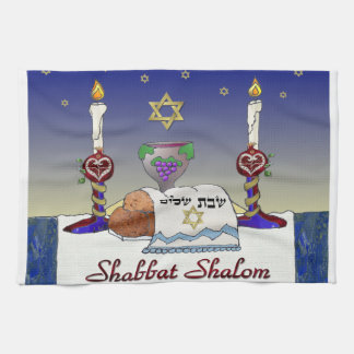 Judaica Shabbat Shalom Art Print Tea Towel