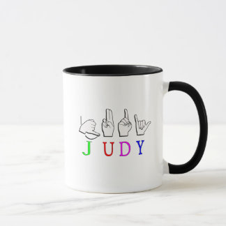 JUDY FINGERSPELLED ASL NAME SIGN MUG