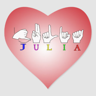 JULIA ASL FINGERSPELLED NAME SIGN FEMALE HEART STICKER