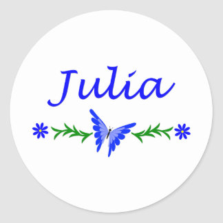 Julia (Blue Butterfly) Classic Round Sticker