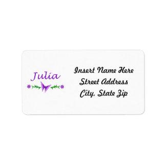 Julia (Purple Butterfly) Address Label
