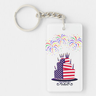 July 4th Cake Double Sided Keychain