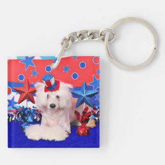 July 4th - Chinese Crested - Dash Key Ring