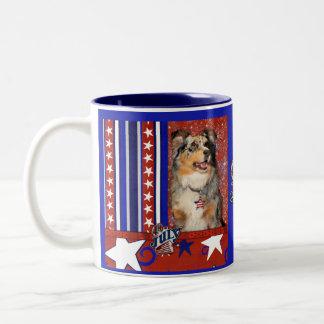 July 4th Firecracker -Australian Shepherd -Dustine Two-Tone Coffee Mug