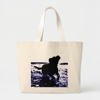 Jumbo canvas tote black lab playing in water