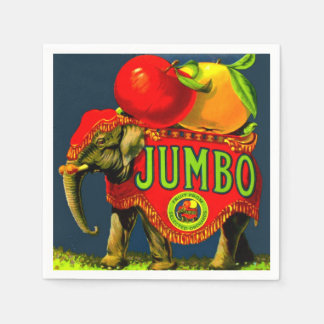 Jumbo Circus Elephant Apples Vintage Fruit Label Paper Napkins