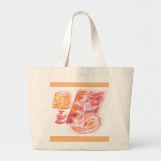Jumbo Tote, Evening light with cat and lamp Jumbo Tote Bag