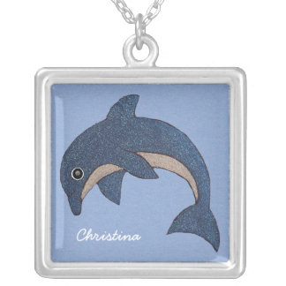 Jumping Blue White Sparkling Dolphin Swirled Eye Silver Plated Necklace