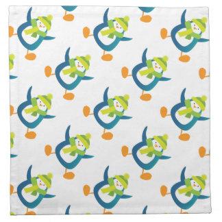 Jumping Cartoon Penguin Pattern Napkin
