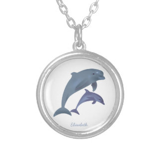 Jumping dolphins illustration name silver plated necklace