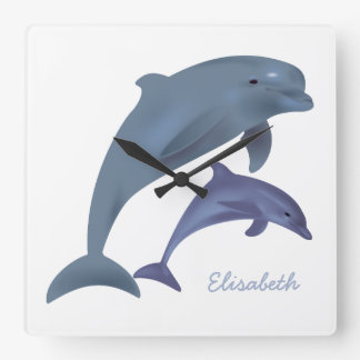 Jumping dolphins illustration name square wall clock