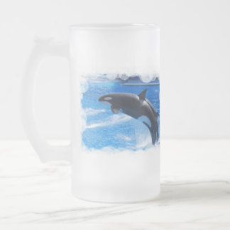 Jumping Orca Whale Frosted Glass Mug