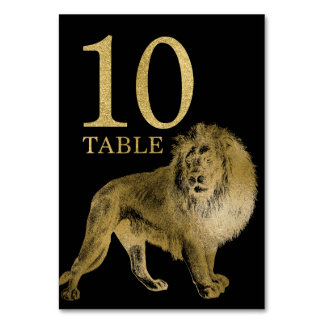 Jungle African Animal Lion Table Number Card 10