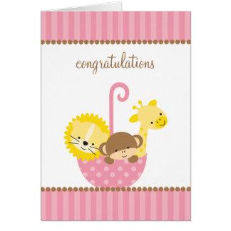 Jungle Animals in Pink Umbrella Note Cards