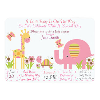 Jungle Baby Shower (Girl) Card