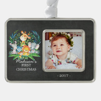 Jungle Baby's 1st Christmas Photo Ornament
