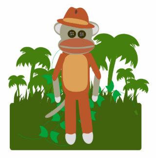 Jungle Explorer Sock Monkey Sculpture Standing Photo Sculpture