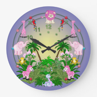 Jungle Fun on Blue Large Clock