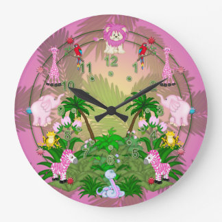 Jungle Fun on Pink Leaves Large Clock