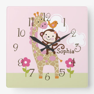 Jungle Jill/Girl Animal Kid's BabyNursery Clock