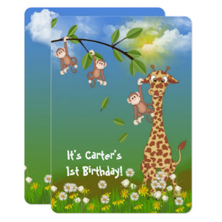 jungle Juvenile Birthday party Card