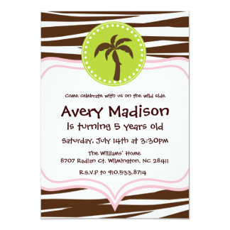 Jungle Party - brown zebra light pink lime green Card