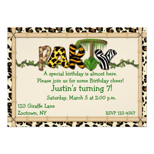 Jungle Print Birthday Party Invite