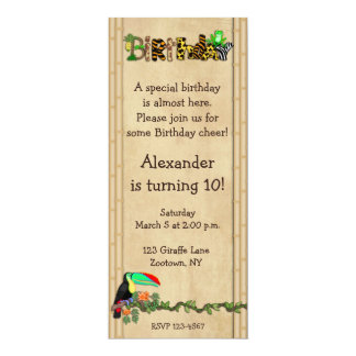 Jungle Print Frog Birthday Party 10 Cm X 24 Cm Invitation Card