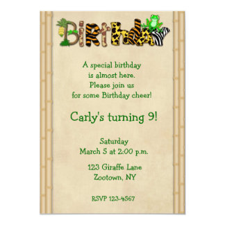 Jungle Print Frog Birthday Party Card