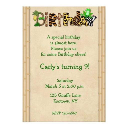 Jungle Print Frog Birthday Party Custom Announcement